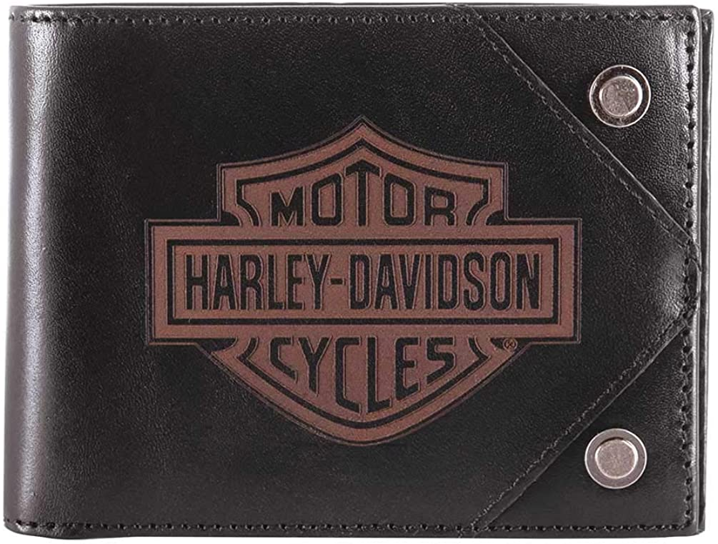 Harley-Davidson Men's Lasered B&S Bi-Fold Leather Wallet w/RFID HDMWA11486
