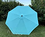 BELLRINO Replacement Peacock Blue Umbrella Canopy for 9 ft 8 Ribs (Canopy Only) (Peacock BLUE-98)