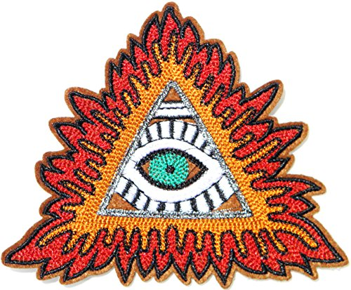 "5"" All Seeing Eye of Providence God Symbol Badge Logo Patch Iron on Sew Embroidered Applique Fabric Craft Art DIY Decorate Handmade Women Cloth Jacket Vest T shirt Accessories Gift Collection"