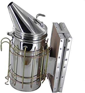 gazechimp Stainless Steel Bee Smoker for Beekeeping with Heat Shield, Bellow, Extra Thick Smoking Plate and Heavy Duty Features