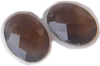 Thebestjewellery Faceted Labradorite cabochon Pair, 18Ct Natural Gemstone, Oval Shape Cabochon Pair for Jewelry Making (15x12x5mm) SKU-8993