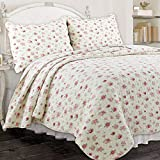 Cozy Line Home Fashions Pink Rose Garden Floral Reversible Coverlet...