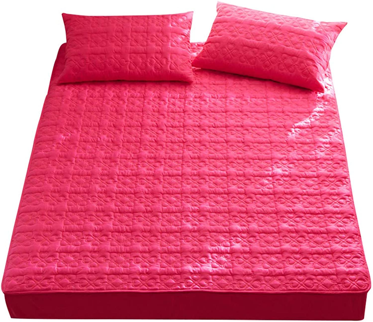 ZHAOHUI Mattress Predector Cotton Breathable Anti-mite Keep Warm Quilted Soft and Comfortable, 2 Packages are Available, 6 colors, 3 Sizes (color   Red-1pc, Size   150X200cm)