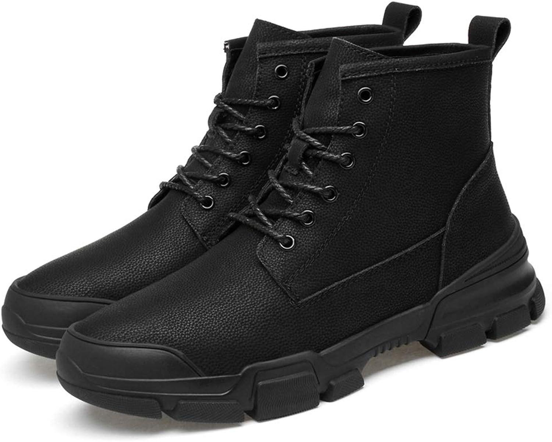 EGS-schuhe Herren Stiefeletten Casual British Style Einfache Gummisohle Schnürung Freizeit Sport Stiefel,Grille Schuhe (Farbe   Schwarz, Größe   47 EU)