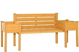 Wooden Garden Bench Chair with 2 Side Flower Planter Box Outdoor Furniture Decor