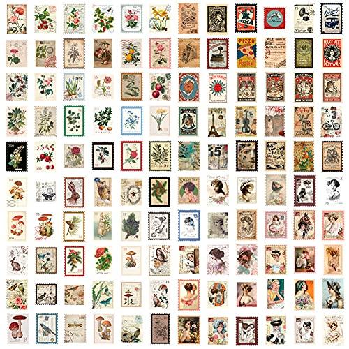 NALCY 240 Piezas Pegatinas Tema de Sello Personajes Plantas Flores y Pájaros Edificio para DIY Manualidades Decoración Scrapbooking Álbumes de Recortes Calendarios Tarjetas, 4,7 x 6,7 cm