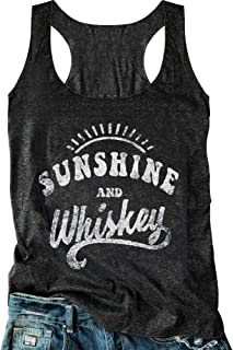 Women Sunshine and Whiskey Tank Top Sunrise Graphic T Shirt Summer Sleeveless O-Neck Casual Tee Tops