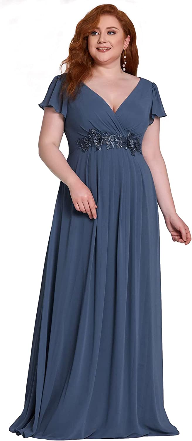 Ever-Pretty Women's Maxi V Neck Short Ruffle Sleeves Sequin Formal Evening Dress Plus Size 50059-PZ