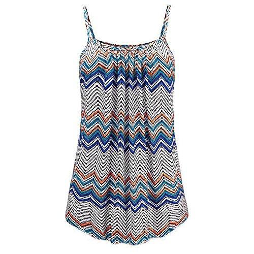 OVERDOSE Sommer Einfarbig Frauen Bluse Shirt Camis Pullis Oberteile Lose Leibchen Damen Einfarbig Chiffon Tank Tops Plus Größe S-6XL (S, H-Blue)