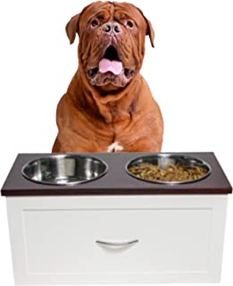 O&J OBI & JERRY 'S CARPENTRY Cuban Wooden Double Diner Station for Large Dog Breed, Comes with Stainless Steel Food and Wa...