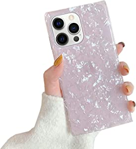 Square Pearl Glitter iPhone 13 Pro Max Case, YTanazing Slim Thin Glossy Soft TPU Silicone Rubber Gel Trunk Box Square Edges Fashion Bumper Cover Compatible with iPhone 13 Pro Max (Pink Pearl)