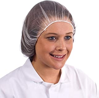 """100 Pack White Micro Nylon Hairnets 24"""" size. Disposable white hairnets. Protective Hair Nets. Stretchable Hairnet Caps for Non-Medical Use. Protective apparel. Lightweight, Breathable. Wholesale."""