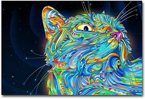 Psychedelic Space Cat Poster Silk quality guaranteed 14.29x25.08inch or any size room decoration gift