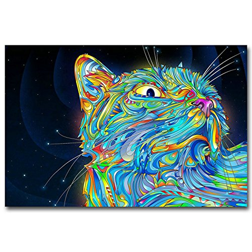 Cat Trippy Psychedelic Art Silk Poster Prints Abstract Picture Home Decor Wall Decoration (13x20inches)