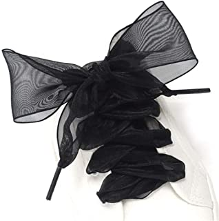 Shoe Laces, Soft Casual Flat Satin Ribbon Shoelaces Sneaker Shoestrings for Women Girls 4CM Wide