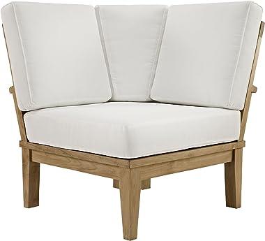Modway EEI-1146-NAT-WHI-SET Marina Premium Grade A Teak Wood Outdoor Patio, Corner Sofa, Natural White