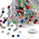 100pcs Smiley Face Beads,Happy Face Beads for Jewelry Making,Cute Spacer Beads for DIY Bracelet Necklace Hair Clip Earring Ring Craft Kit, Beading Supplies ,Color Mixed in One Package