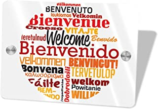 HZWMKJ Welcome Different Languages Wall Sticker Door Signs Home Office Garden Wall Inside Outside Wedding Party Cave Bar Decoration, 5.5 X 7.5 in