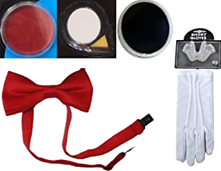 Rimi Hanger Adults Red White Black Face Paint Red Bow Tie White Gloves Clown Party Accessory 5 Pcs Set