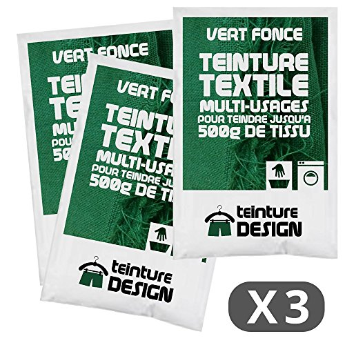 Set de 3bolsas de tinte textil–Verde oscuro –Tintes universales para ropa y tejidos naturales