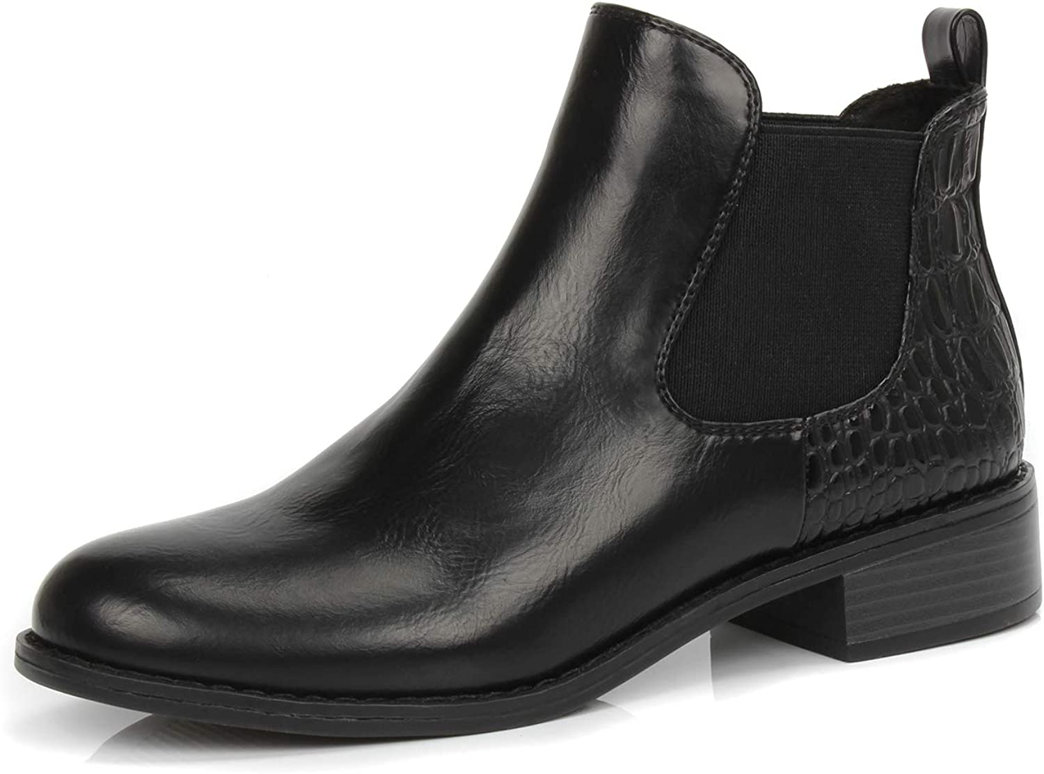 DUNION Women's Betty Comfortable Dual-Side Stretch Chunky Heel Ankle Casual Booties
