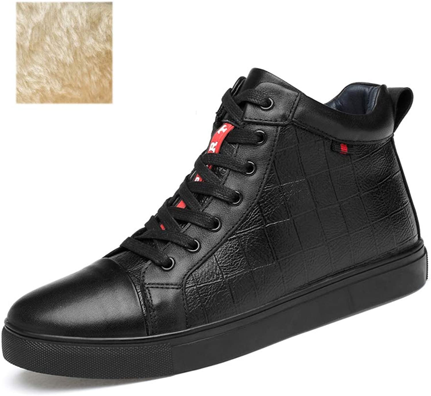 Men's shoes Fall Winter New Leather Sneakers High-top Casual Deck shoes Lace-up Driving shoes Flat shoes (color   Black, Size   43)