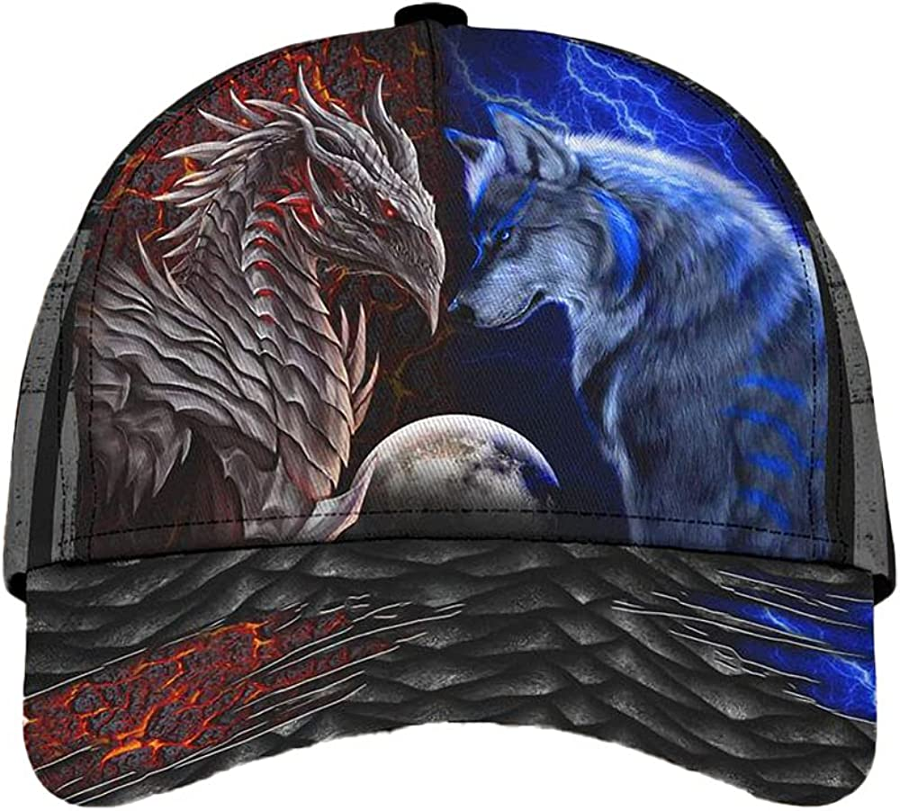 Dragon and Wolf Face to Face Classic Baseball Cap