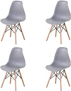GrandCA Home Ensemble de 4/6 chaises, Design Bois Chaise de Salle à Manger, Chaise de Bureau, Chaise de Salon (Gris-4)