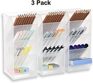5 Pcs Desk Organizer- Pen Organizer Storage for Office, School, Home Supplies, Translucent White/Black Pen Storage Holder, Set of 3, 2 Cups 14Compartments White Big Pen Holder