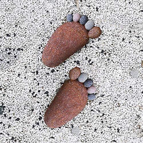 erddcbb Pair Of DIY Footprint Stepping Stone Garden Path Statue Home Decoration,Brown