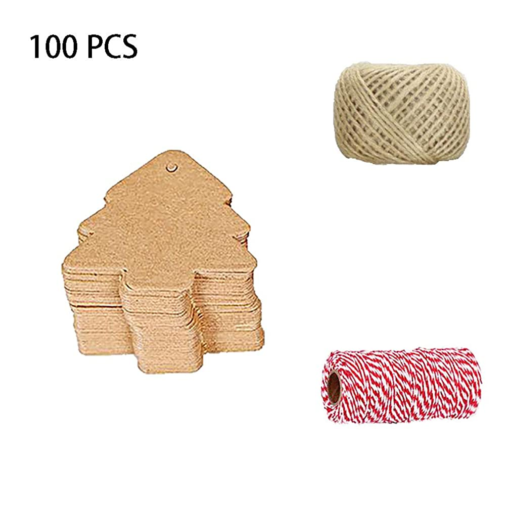 KingBra 100 Kraft Paper Tag Gift Box Hanging Tag with 30 Meters Jute Line and 92Meters Red & White Line for Gifts, Bookmarks, Christmas, Holiday