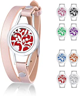 Supcare Aromatherapy Diffuser Locket Bracelet with Stainless Steel Deciduous Tree Pattern Essential Oil Diffusing Locket Box, Leather Wrist Band Strap Locket Bracelet Jewelry for Girls/Women Gift