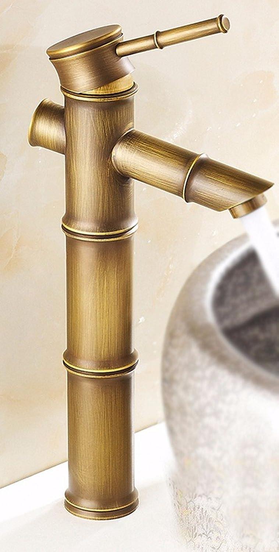 AWXJX Lleno de Cobre de Estilo Europeo Renombrado luminaria de bambú Alrojoedor de su Propio Agujero único Lavabo Arte Cuenca Cuenca Cuenca Caliente y fría Solo el Grifo de Fregadero SH
