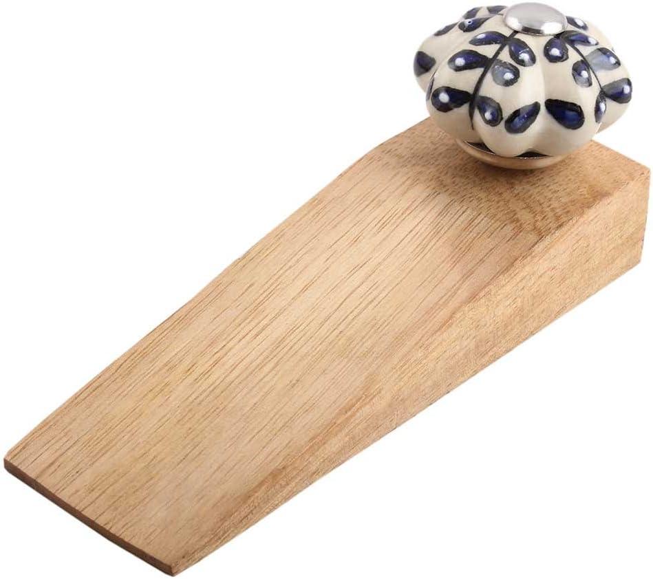 Max 69% OFF IndianShelf 4 Max 77% OFF Piece Handmade Blue Stopper Door Wooden Flower