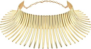 African Necklaces for Wom African Jewelry for Women Flamboyant Adjustable Personality Creative Style Large Collaren Fashion Necklaces for Women Jewelry Sets for Women Gifts Fit with Wedding Dress-Gold