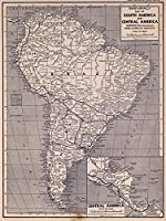 National Atlas - 1940年南と中米の地図 - 歴史的なアンティークビンテージ復刻版