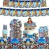 Decoracion Cumpleaños One Piece, 53 piezas Juego de fiesta Platos Tazas Servilletas Cubiertos Banner Mantel Vajilla de cumpleaños Kit de decoración, para niños Fiesta de cumpleaños