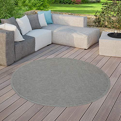 TT Home Moderner Outdoor Teppich Wetterfest Für Innen- Und Außenbereich Einfarbig In Grau, Größe:Ø 200 cm Rund