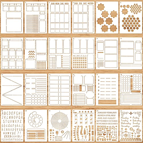 24 Pieces Ultimate Productivity Stencil Set A5 Journal Stencil Plastic Planner Stencil Schedule Template Stencil Daily Weekly Monthly Calendars for DIY Notebook Diary Planners Layouts