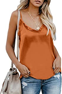 Women's Summer Sleeveless V Neck Camisole Loose Fit Casual Blouse Button Down Tank Tie Front