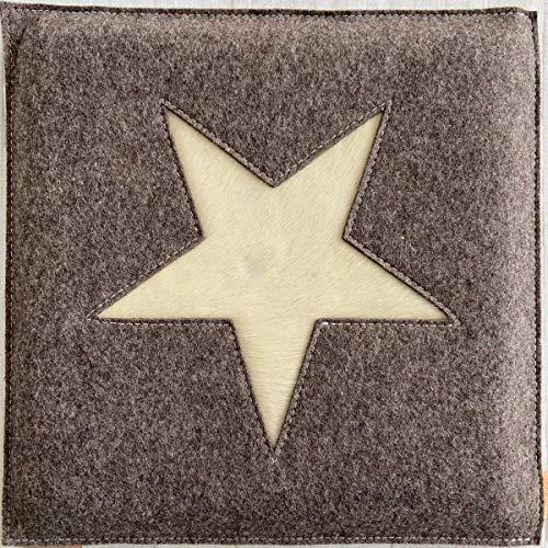 Stuhlkissen Stern beige Filz echtes Kuhfell Kuh Motiv Sitzkissen ca 33 x 33 cm