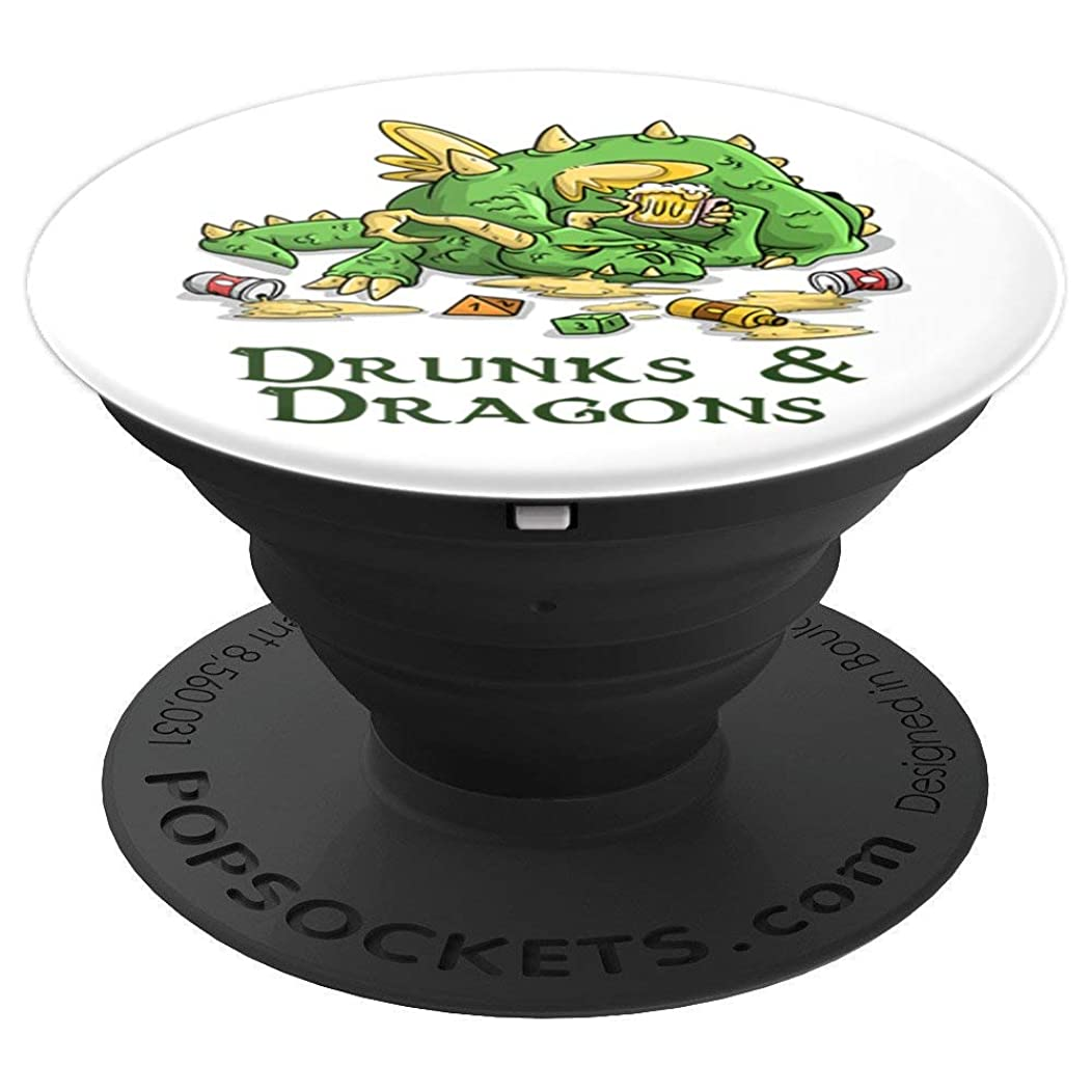 Drunks And Dragons Funny DND DM D20 Dice Dice Beer T-Shirt PopSockets Grip and Stand for Phones and Tablets