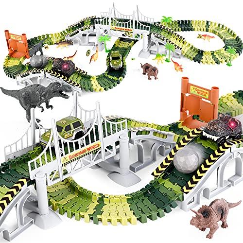 Desuccus Dinosaur Toys, Race Car Track for Kids, Dinosaur Track Toy...