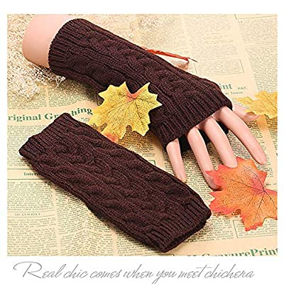 New Tuscom Fasion Winter Warm Mitt Knit Gloves,Warm and Cold Wrist Warmers Mittens for Women Girl Ladies Women's(7 Colors)