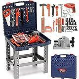 BAKAJI Banco da Lavoro per Bambini 69 Pezzi Richiudibile con Attrezzi e Accessori 40 x 35 x 72 cm Trapano Giocattolo Realistico Tool Set