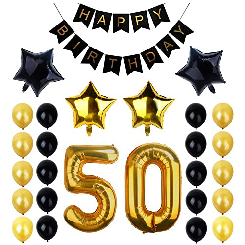 50th Birthday Party Decorations Kit Happy Banner 50 Gold Number Balloons