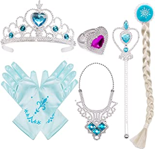 Princess Dress Up Costume Accessories Gift Set for Princess Cosplay Gloves Tiara Wand and Necklace(Blue)
