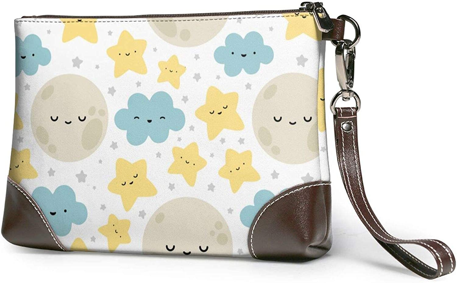 Moon Cloud Same day shipping Star Printed Clutch Wristlet Leather Detachable Purse Max 53% OFF