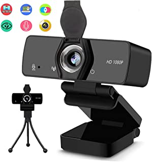 1080P HD Webcam, Web Camera with Microphone for Desktop, USB PC Streaming Camera 110-Degree Wide Angle with Mic Privacy Co...