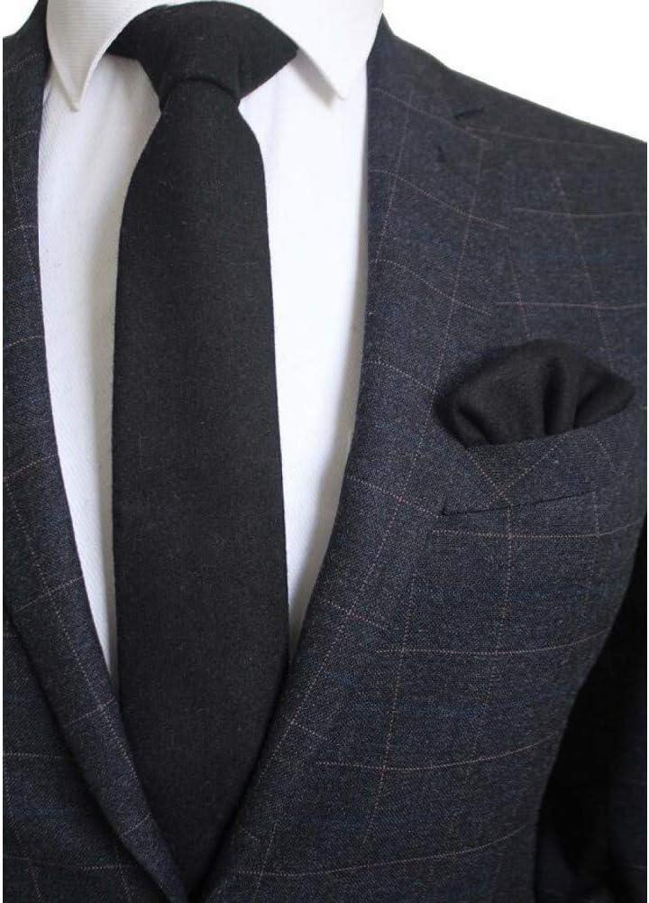 WOXHY 8Cm Necktie Solid Plaid Tie for Men Quality Tie and Handkerchief Cravats Set Suit for Wedding Party